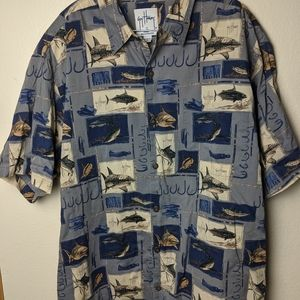 Guy Harvey fish Gray men's shirt size XL